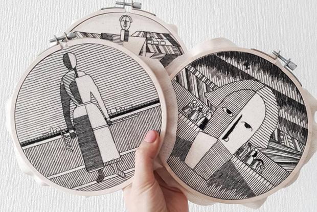 Архитектура и Малевич черными нитками в инстаграме Анны Холоша — В закладки на The Village