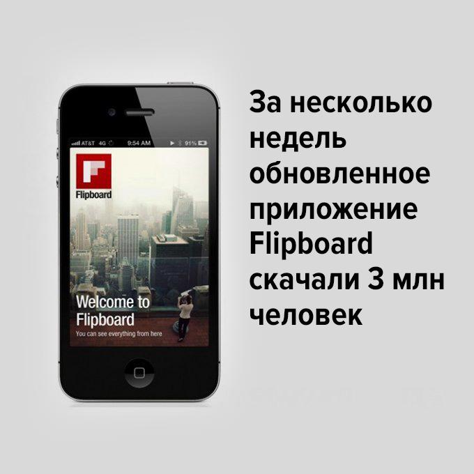 За две недели обновлённое приложение Flipboard скачали 3 млн человек — Успех дня на The Village