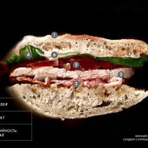 Составные части: Cэндвич с курицей и беконом из винного бара «Гаврош»