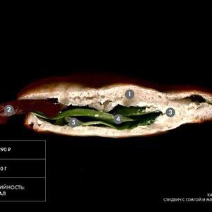 Составные части: Сэндвич с сёмгой и мягким сыром из кафе-бара Iskra — Составные части на The Village