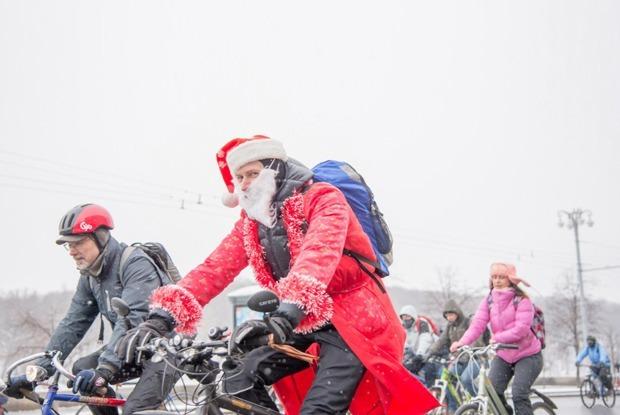 Зимний велопарад в Москве в снимках Instagram