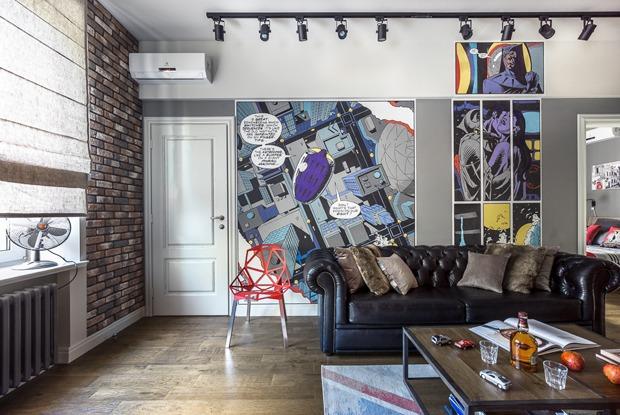 Квартира для молодой семьи с комиксом «Хранители» на стенах