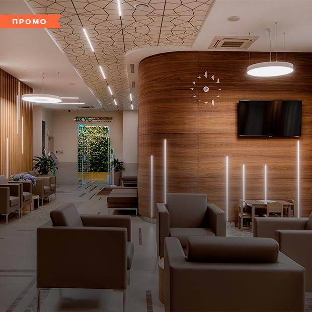 Интерьер недели. Кафе здорового питания и фито-стены: Как устроена новая клиника на Малышева — Луначарского