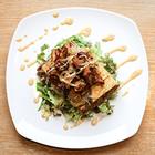 Вегетарианская брускетта с тофу в медово-горчичном соусе с лисичками