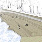 В парке Горького начали строить деревянный пляж