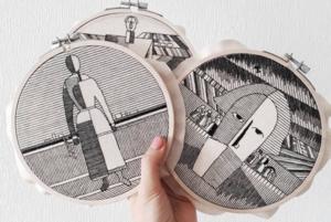 Архитектура и Малевич черными нитками в инстаграме Анны Холоши