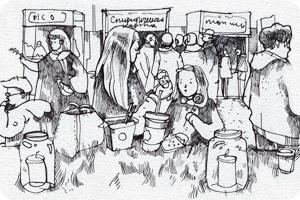 Клуб рисовальщиков: Городской маркет еды на Соколе