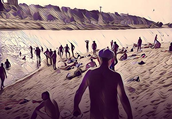 Нудисты с пляжа на Гребном канале