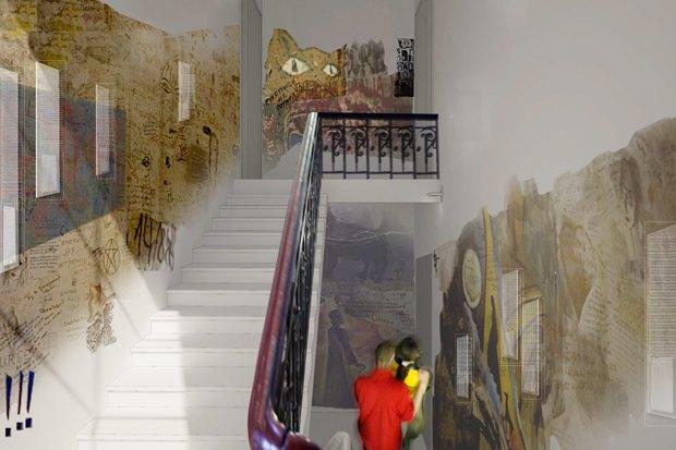 Лестница в квартиру  отреставрирована, возможно, там будут выявлены спонтанные надписи и рисунки поклонников этого места. Изображение № 3.