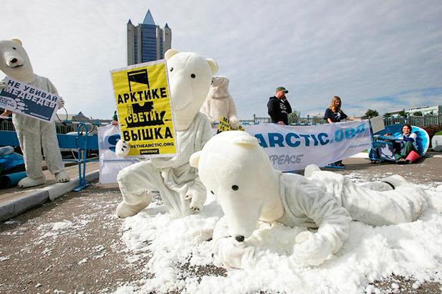 Белые медведи блокировали здание «Газпрома». Изображение № 1.