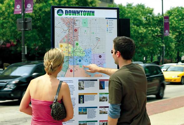 Информационные киоски и знаки навигации хорошо заметны, но в то же время удачно сочетаются с ландшафтом (Балтимор, Мэриленд).. Изображение № 29.