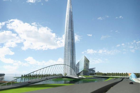 Вид на башню, транспортную развязку и мост. Фотографии: ОДЦ «Охта». Изображение № 6.