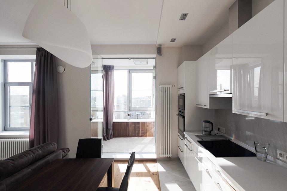 """Кухня-гостиная в стиле """"хай-тек"""" (30 фото): дизайн комнаты в."""