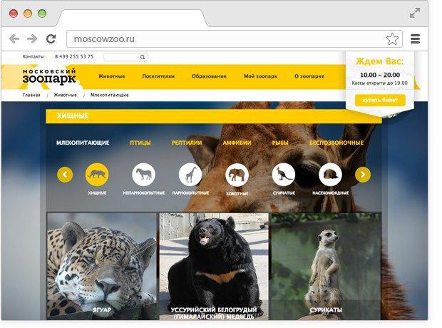 Московский зоопарк обновил дизайн своего сайта. Изображение № 3.