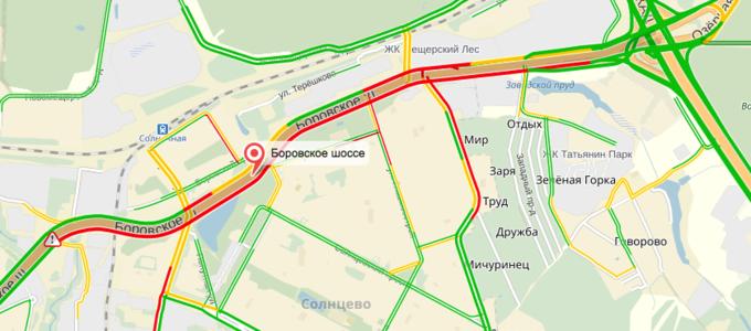 На Боровском шоссе перекрыто движение из-за загоревшегося автобуса (обновлено). Изображение № 1.