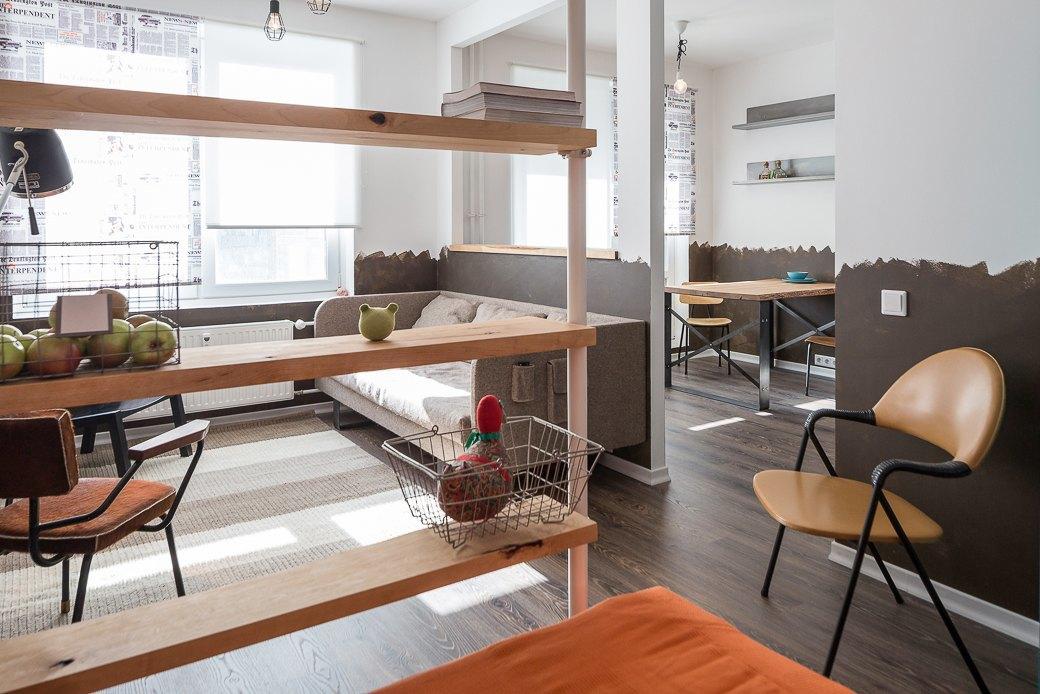 Компактная квартира вДевяткино сбарной стойкой ивинтажными элементами . Изображение № 13.