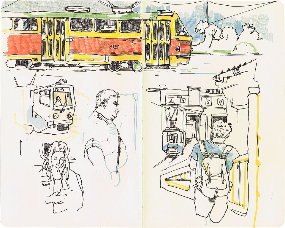 Клуб рисовальщиков: Московские трамваи. Изображение № 5.