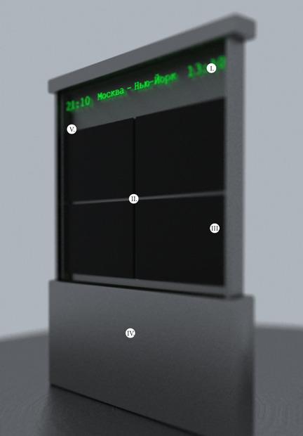 I — светодиодная цифровая панель. II. — веб-камера. III. — четыре LCD-экрана, расположенных вертикально. IV — корпус из алюминиевого проката (ГОСТ 21631-76). V — витринное стекло.. Изображение № 22.