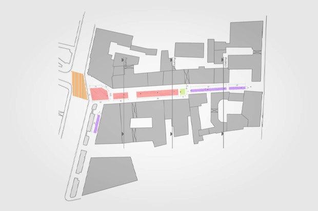 План Кузнецкого Моста. Красным выделена ресторанная зона, жёлтым — зона выступления уличных артистов, фиолетовым — ярмарочная зона. Изображение № 2.