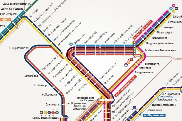 Арт-директор студии nOne оновой схеме московских трамваев. Изображение № 7.