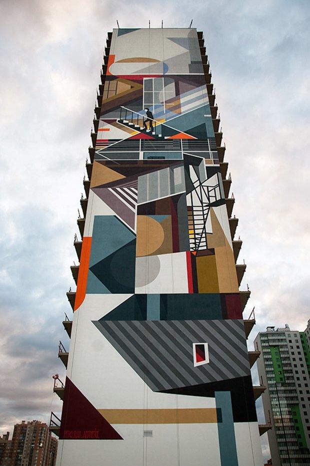 Художники расписали стену 24-этажного дома вПриморском районе. Изображение № 7.