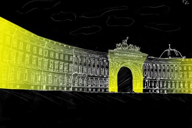На ночь глядя: 12 проектов подсветки Главного штаба. Изображение № 34.