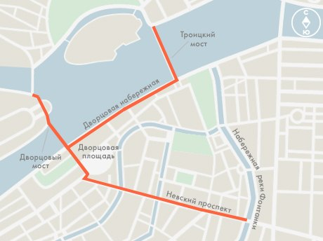 В новогоднюю ночь перекроют Невский, Дворцовую и Биржевую площади и несколько улиц. Изображение № 1.
