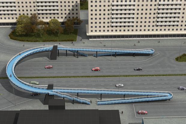 Надземный пешеходный переход на пересечении проспекта Славы и Белградской улицы. Изображение № 3.