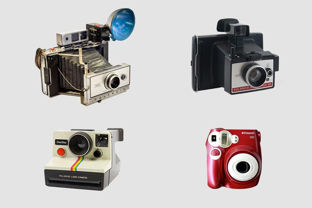 Верхний ряд:  Polaroid Land Camera model 103 (1965) и Polaroid Colorpack 80 (1971). Нижний ряд: Polaroid SX-70 Land Camera OneStep (1972) и Polaroid 300 Instant Film Camera (2010). Изображение № 1.