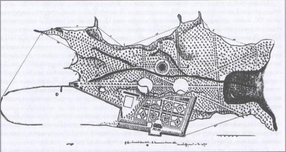 Генеральный план усадьбы «Дальние дубки». Проект 1722 года. Изображение № 1.
