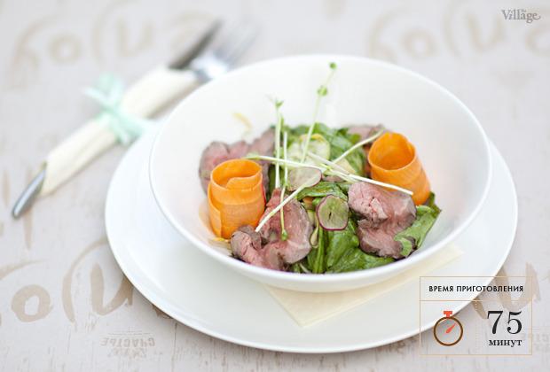 Рецепты шефов: Салат из свежих овощей с ростбифом. Изображение № 2.