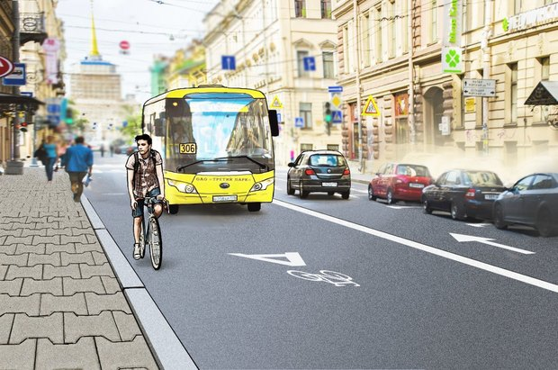 Перестройка: велодорожки на Гороховой инабережной Фонтанки. Изображение № 3.