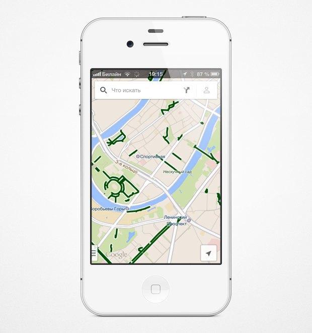 На мобильных картах Google появились велодорожки. Изображение № 6.