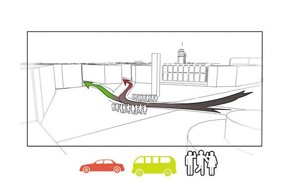 Транспортное зонирование площади поможет разделить потоки общественного транспорта, автомобилей и пешеходов. Изображение № 33.