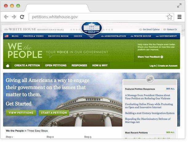 Главная страница сайта We The People. Изображение № 1.