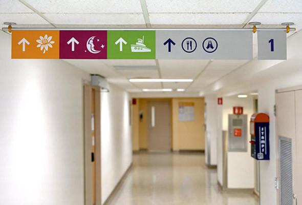 Пример дизайна, рассчитанного одновременно на детей и их родителей. Основой системы ориентирования стали повторяющиеся иконки с читаемым цветовым кодом. (Children's Hospital Boston). Изображение № 21.