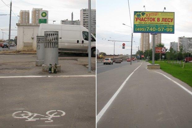 Блогеры раскритиковали велодорожку вдоль Ярославского шоссе . Изображение № 3.