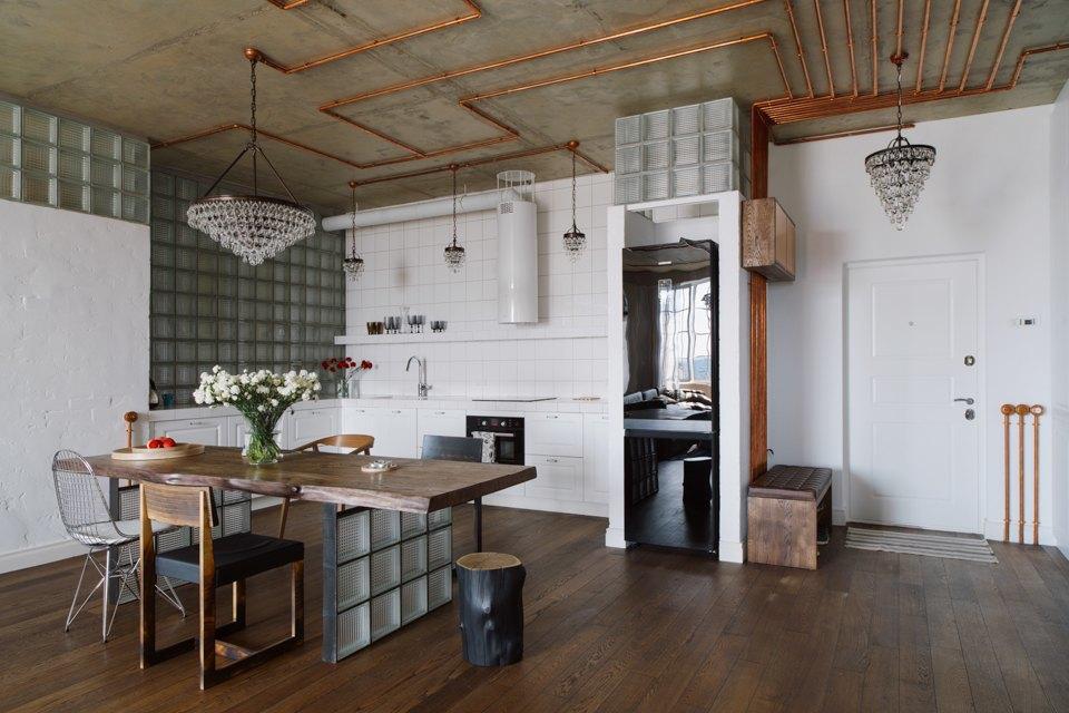 Трёхкомнатная квартира виндустриальном стиле. Изображение № 2.