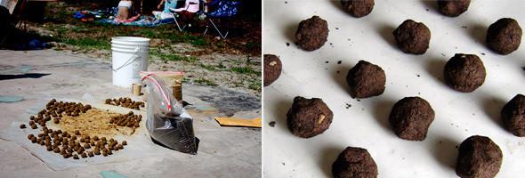 Cеменные бомбы, главное зелёное оружие партизан. Внутри шариков семена с землей, которые быстро разрастаются