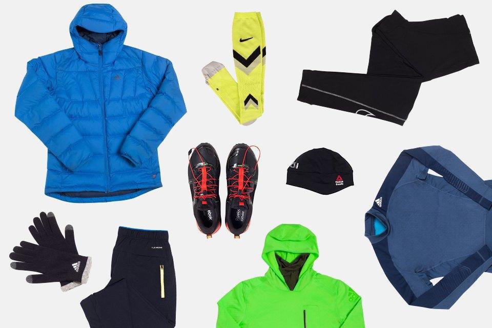 Третий — для экстремального холода: нижний, верхний и средний слой adidas, носки и тайтсы Nike, брюки, кроссовки, шапка Reebok, перчатки adidas.. Изображение № 4.
