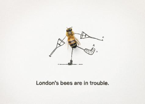 Агентство M&C Saatchi бесплатно разработало серию постеров и видеороликов «Лондонские пчелы в беде». Изображение № 2.