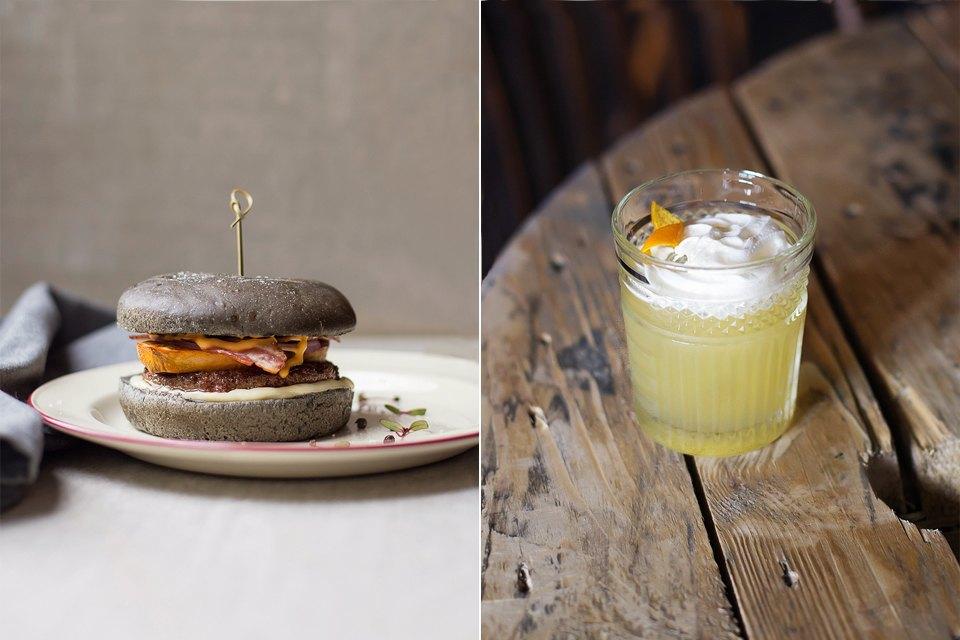 Бургер с котлетой из мраморной говядины, жареным беконом, айоли, запеченным бататом. Изображение № 11.