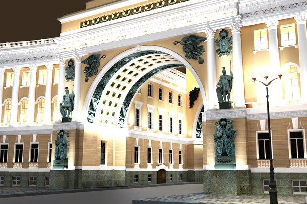 На ночь глядя: 12 проектов подсветки Главного штаба. Изображение № 78.