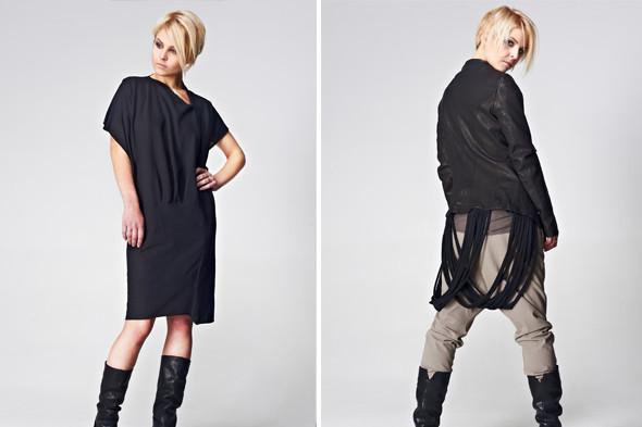Слева: платье TVSCIA, 7 000 р., сапоги Aketohn, 11 600 р.  Справа: кожаная куртка MASNADA,       27 300 р., брюки MASNADA, 7500 р.,  сапоги Aketohn, 11600 р. Все цены указаны с учетом скидок.. Изображение № 4.