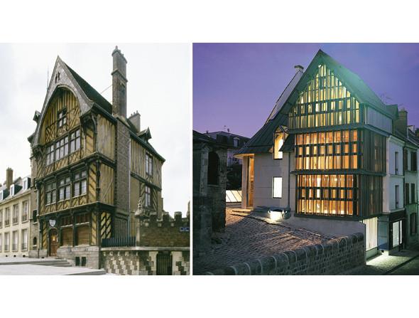 1. Жилой дом, Амьен, Франция, XV век. Фото: Уилл Прайс 2. Жилой дом, Франция, архитектор Эрик Пасе, 2004. Фото: Eric Pace