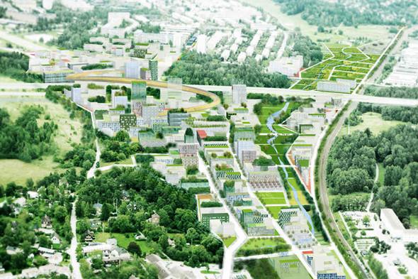 Транспортная инфраструктура проекта Stockholmsporten вШвеции включает трехуровневую развязку, велосипедные ипешеходные дорожки. Проектируемая местность должна стать своеобразным центром, спарками, общественными сооружениями итерриториями, объединяющим северные пригороды Стокгольма. Изображение № 12.