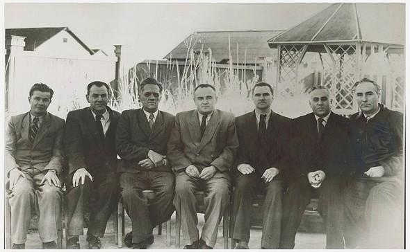 Группа конструкторов на полигоне Капустин Яр. Николай Пилюгин — третий слева. 1947 г.. Изображение № 6.
