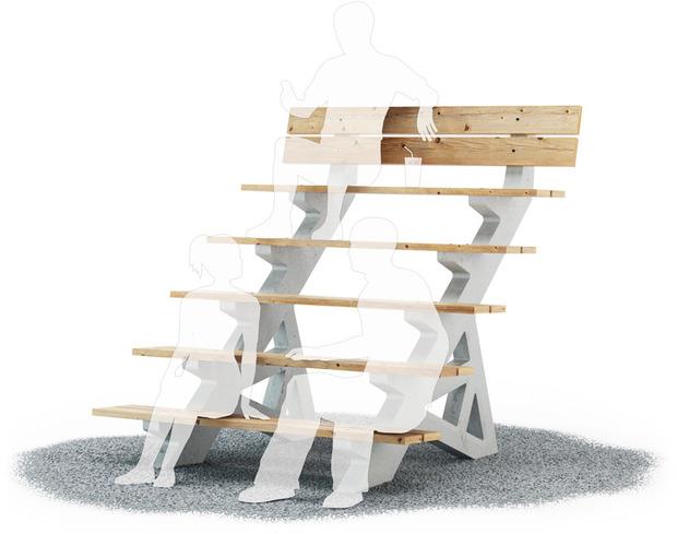 Студия Лебедева придумала многоуровневые скамейки. Изображение № 1.