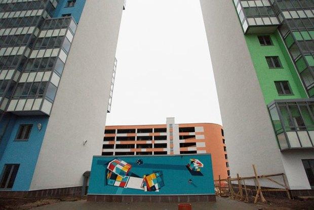 Художники расписали стену 24-этажного дома вПриморском районе. Изображение № 9.