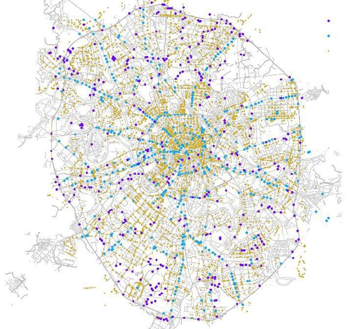 Пешеходные переходы в Москве: зебры (жёлтые точки) сконцентрированы в ЦАО, подземные переходы (голубые точки) сконцентрированы вдоль Садового кольца и прилежащих шоссе, надземные переходы (синие точки) сконцентрированы вдоль МКАД и прилежащих шоссе.. Изображение № 39.